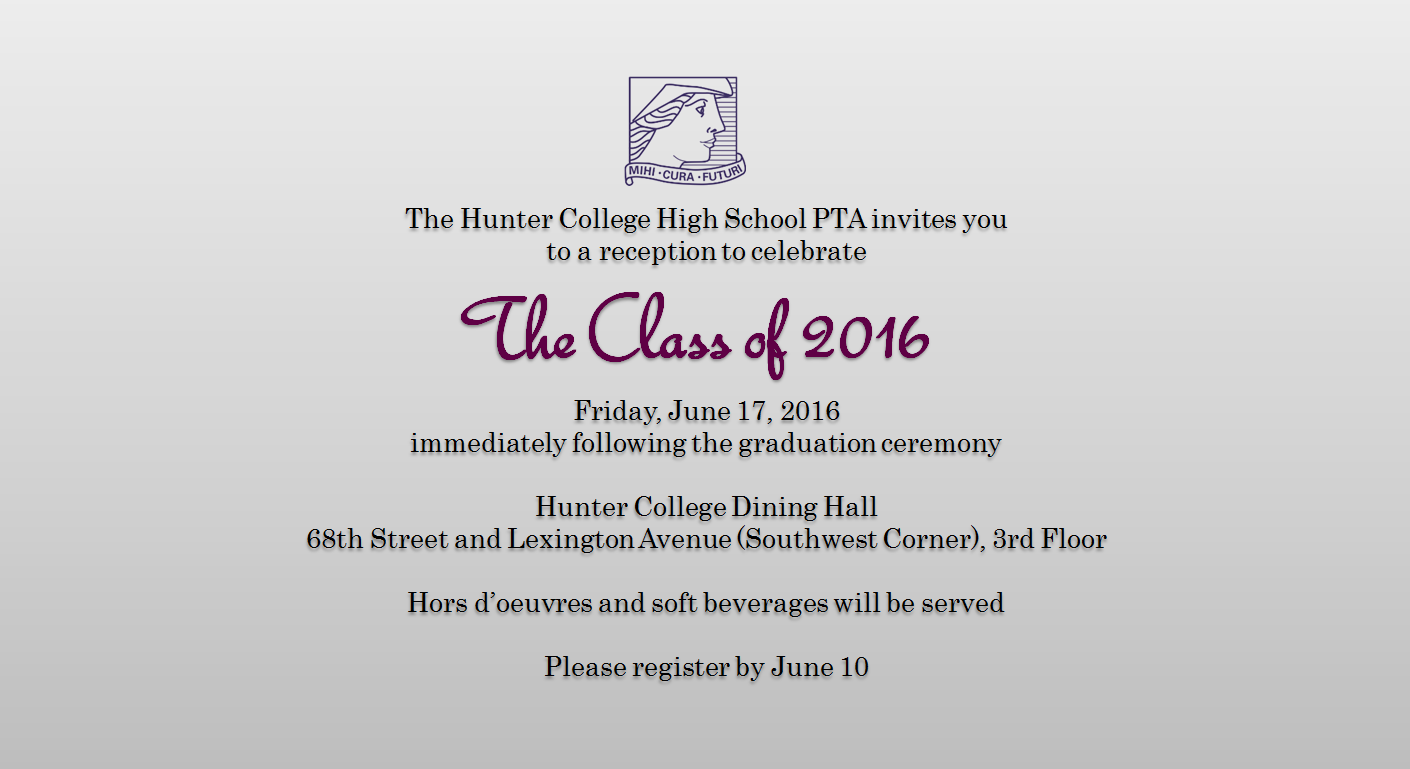 graduation reception invitation hunter college high school pta